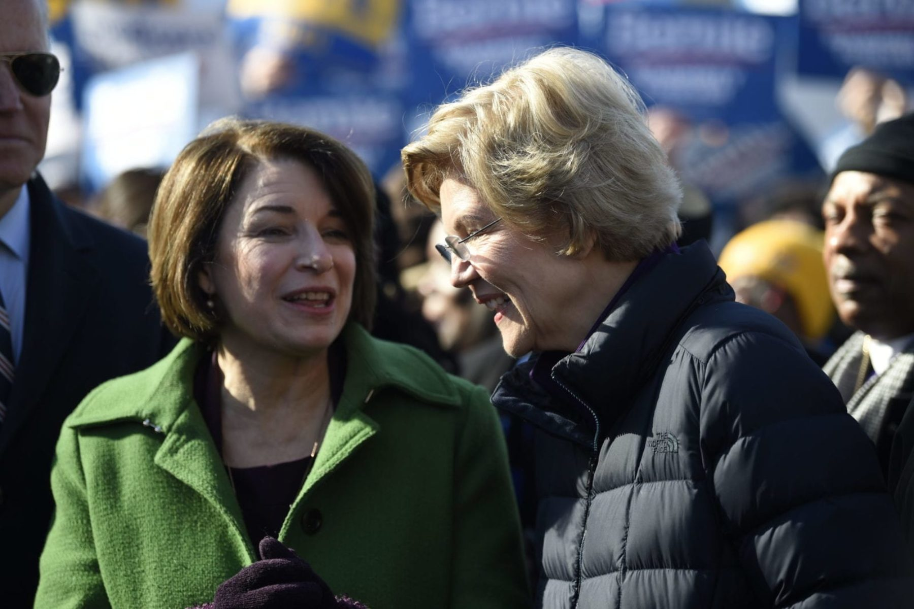 Sens. Amy Klobuchar and Elizabeth Warren at the Martin Luther King Jr. Day march in Columbia, S.C, in January 2020.