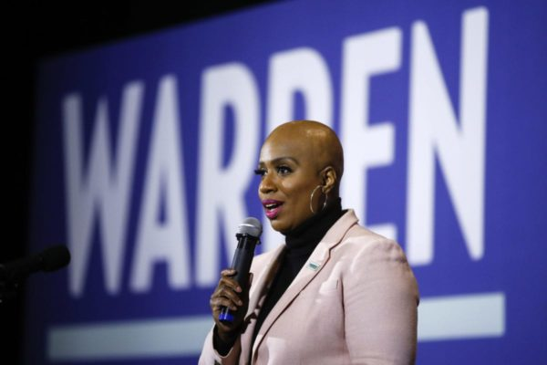 Rep. Ayanna Pressley speaks as a surrogate of Democratic presidential candidate Sen. Elizabeth Warren during a campaign event on Jan. 31, 2020, in Ames, Iowa.