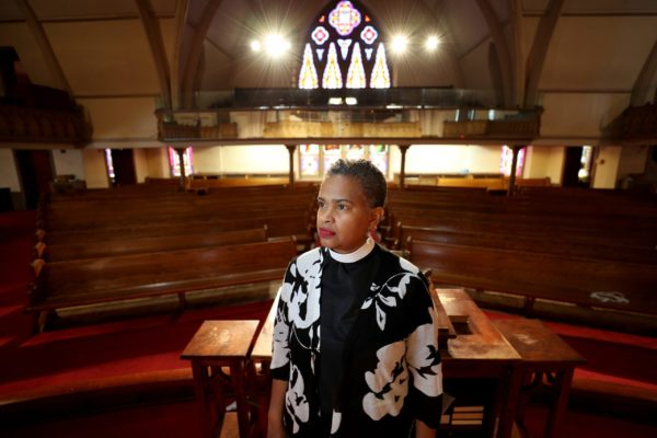 Leslie D. Callahan, pastor of St. Paul's Baptist Church, poses for a portrait, at her church in Philadelphia, PA on April 8, 2020.