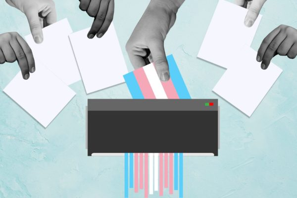 Hands putting ballots in a ballot box, but with the trans flag being shredded instead.