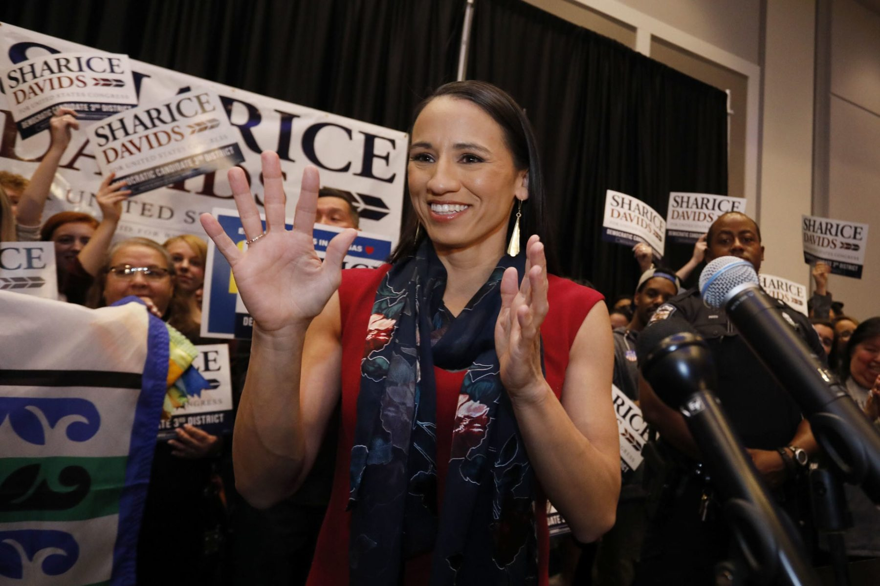 Rep. Sharice Davids at a campaign event.