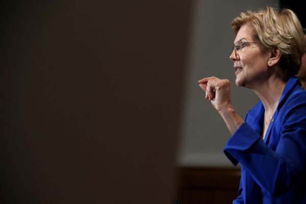 Elizabeth Warren speaks on Capitol Hill.