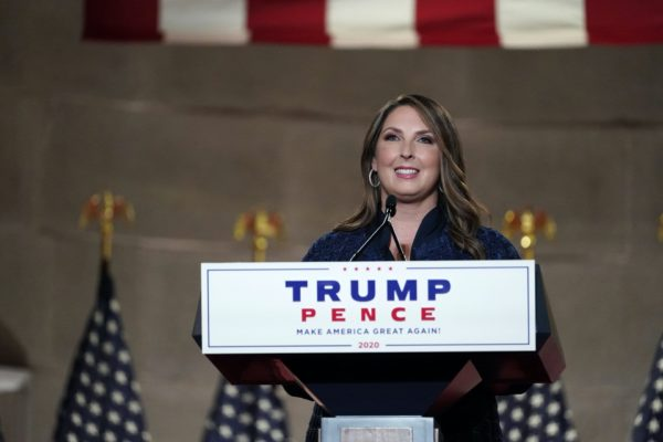 Ronna McDaniel standing at the podium at the Republican National Convention.
