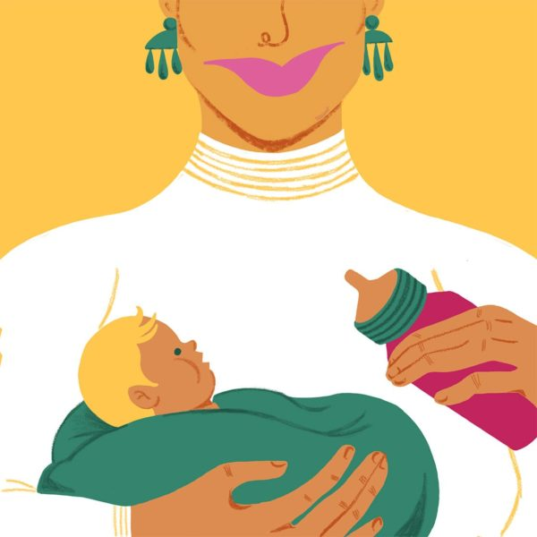 Illustration of a woman feeding a baby a bottle