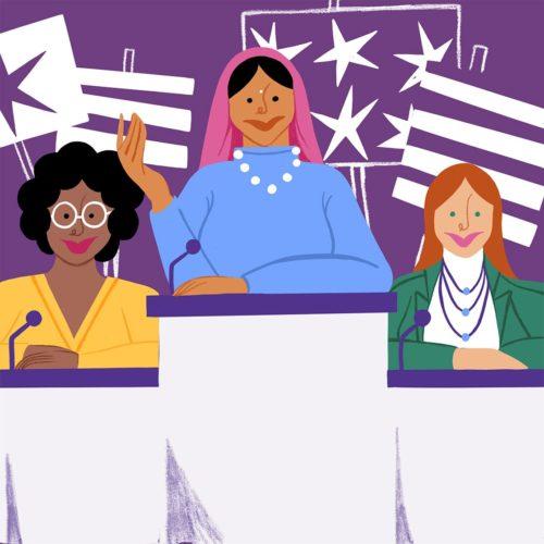 Illustration of three women speaking at podiums