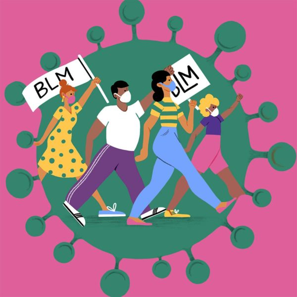 Illustration of four people marching for Black Lives Matter with coronavirus as the backdrop