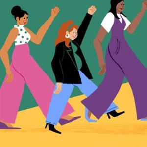 Illustration of three women marching