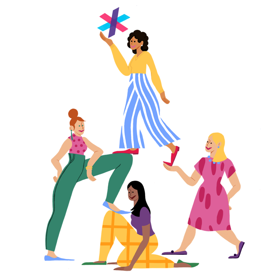 Illustration of women helping women