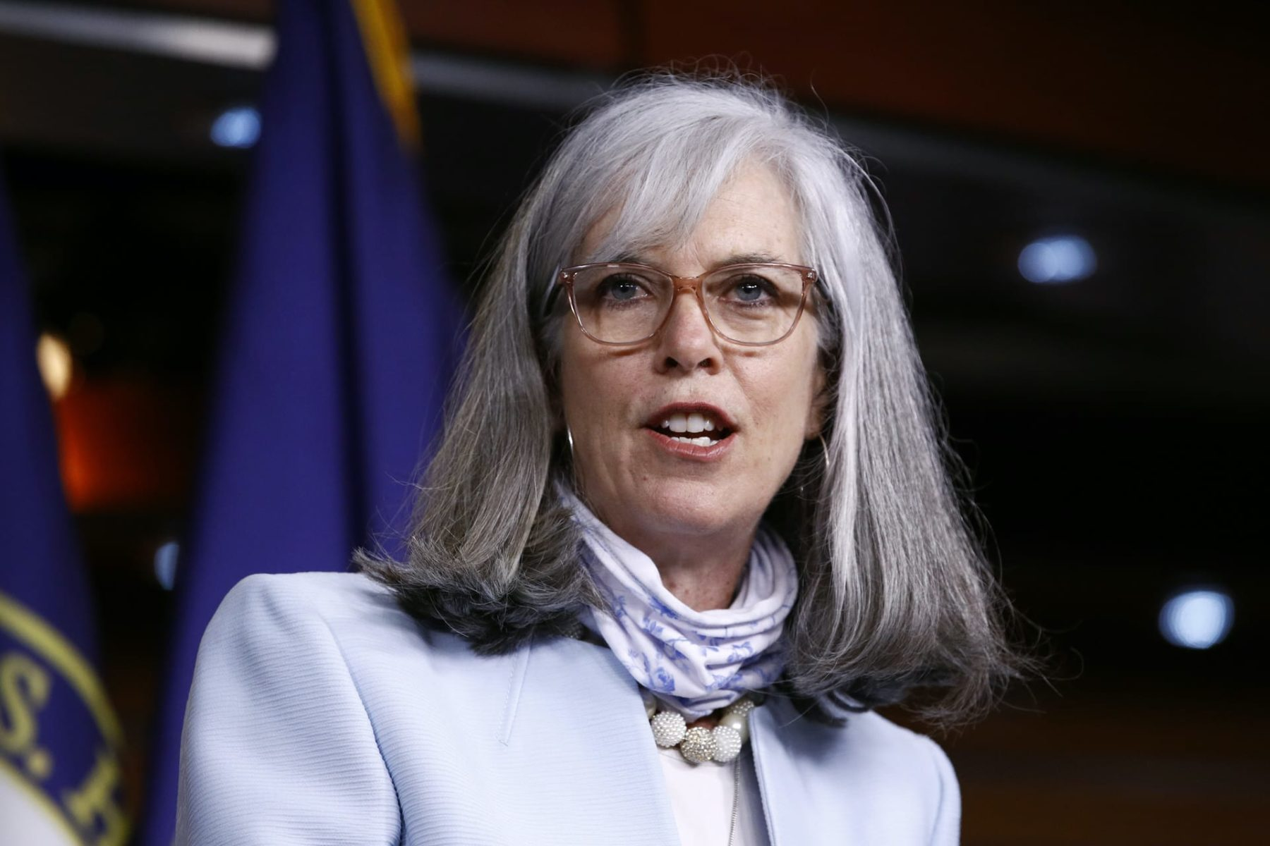 Democratic Caucus Vice Chair, Rep. Katherine Clark, D-Mass., speaks during a news conference on Capitol Hill in Washington, Monday, June 29, 2020