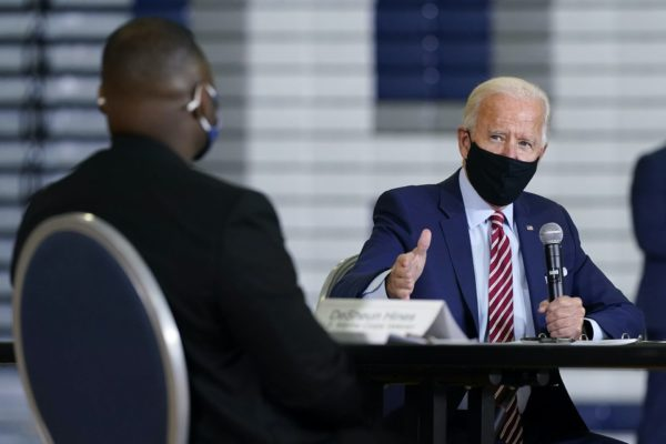 Democratic presidential candidate former Vice President Joe Biden speaks during a roundtable discussion with veterans, Tuesday, Sept. 15, 2020, at Hillsborough Community College in Tampa, Fla.