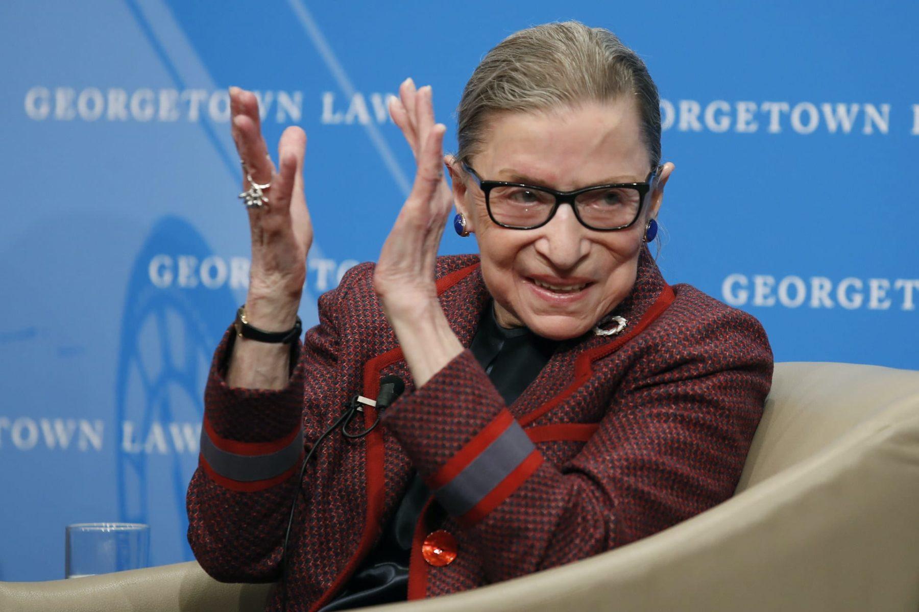 Ruth Bader Ginsburg applauding.