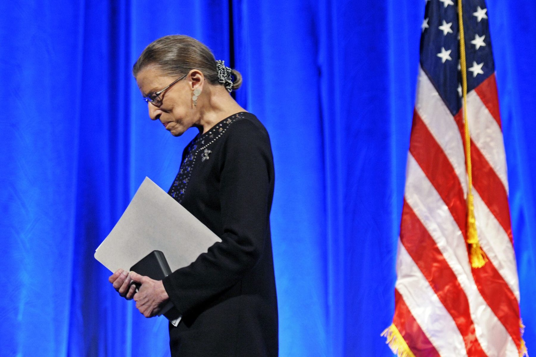 Ruth Bader Ginsburg on stage.