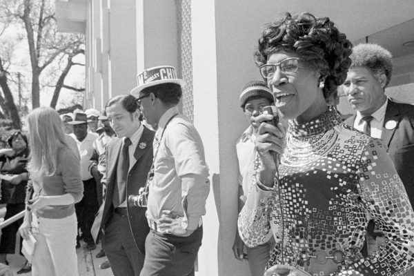 Shirley Chisholm speaks at a campaign rally.