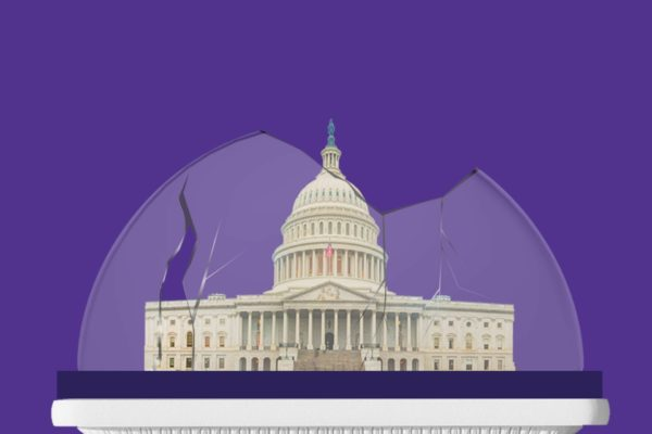 An photo illustration of the U.S. Capitol building in a shattered dome resembling a snow globe.