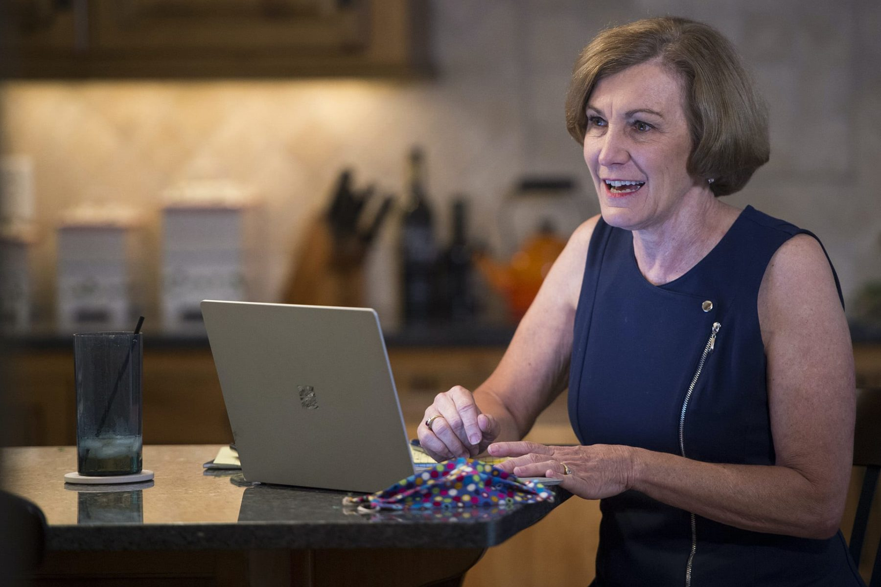 "Senator Barbara Bollier, a Democrat representing Kansas District 7, works on her re-election campaign from her home in Mission Hills, Kansas. The likely Democratic nominee for U.S. Senate, Bollier, 62, a retired anesthesiologist, promises to be a ""voice of reason"" in Washington."