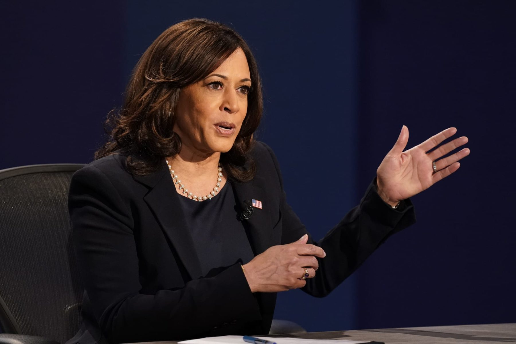Democratic vice presidential candidate Sen. Kamala Harris, D-Calif., makes a point during the vice presidential debate Vice President Mike Pence Wednesday, Oct. 7, 2020, at Kingsbury Hall on the campus of the University of Utah in Salt Lake City.