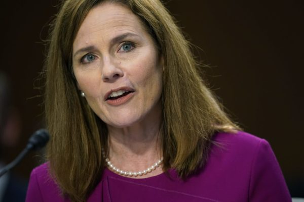 Amy Coney Barrett speaks at the first day of her confirmation hearing.