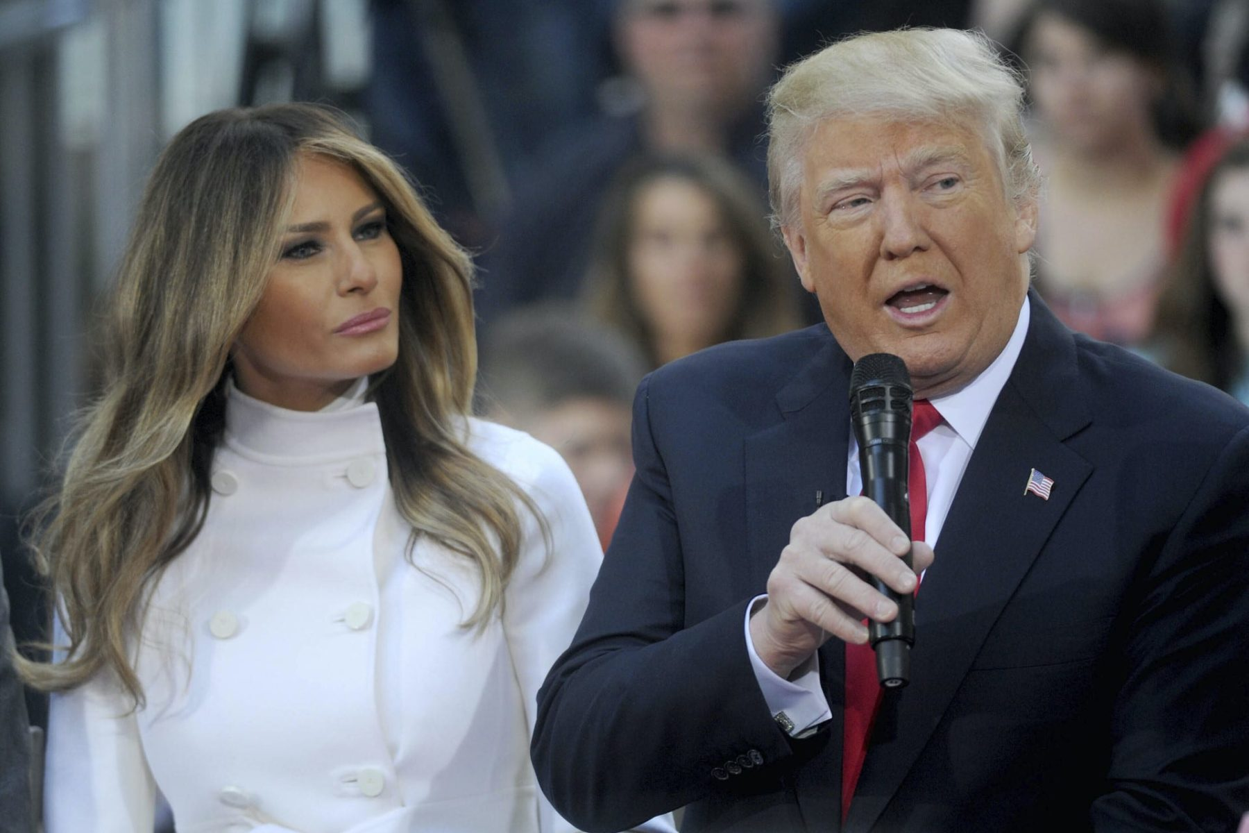 Melania and Donald Trump at a town hall.