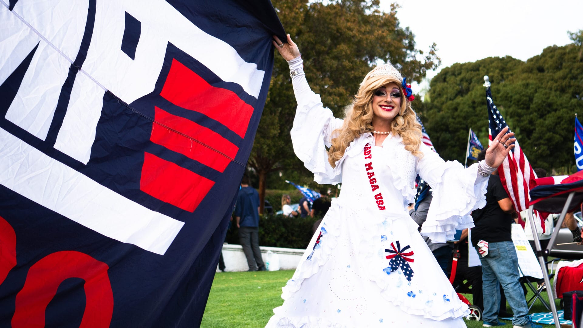 Drag queen Lady Maga USA at a Trump rally in full costume.