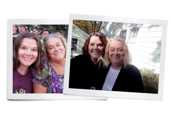 A composite photo of two photographs of a mother and daughter