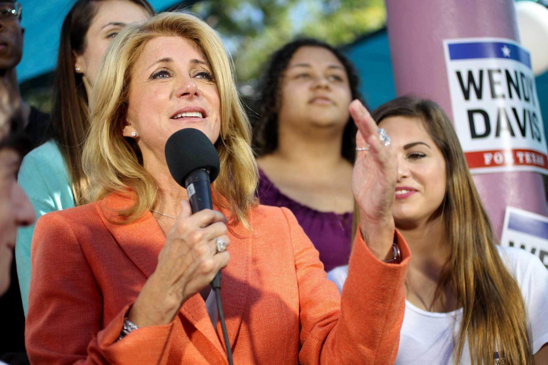 Wendy Davis gives a speech at a rally.