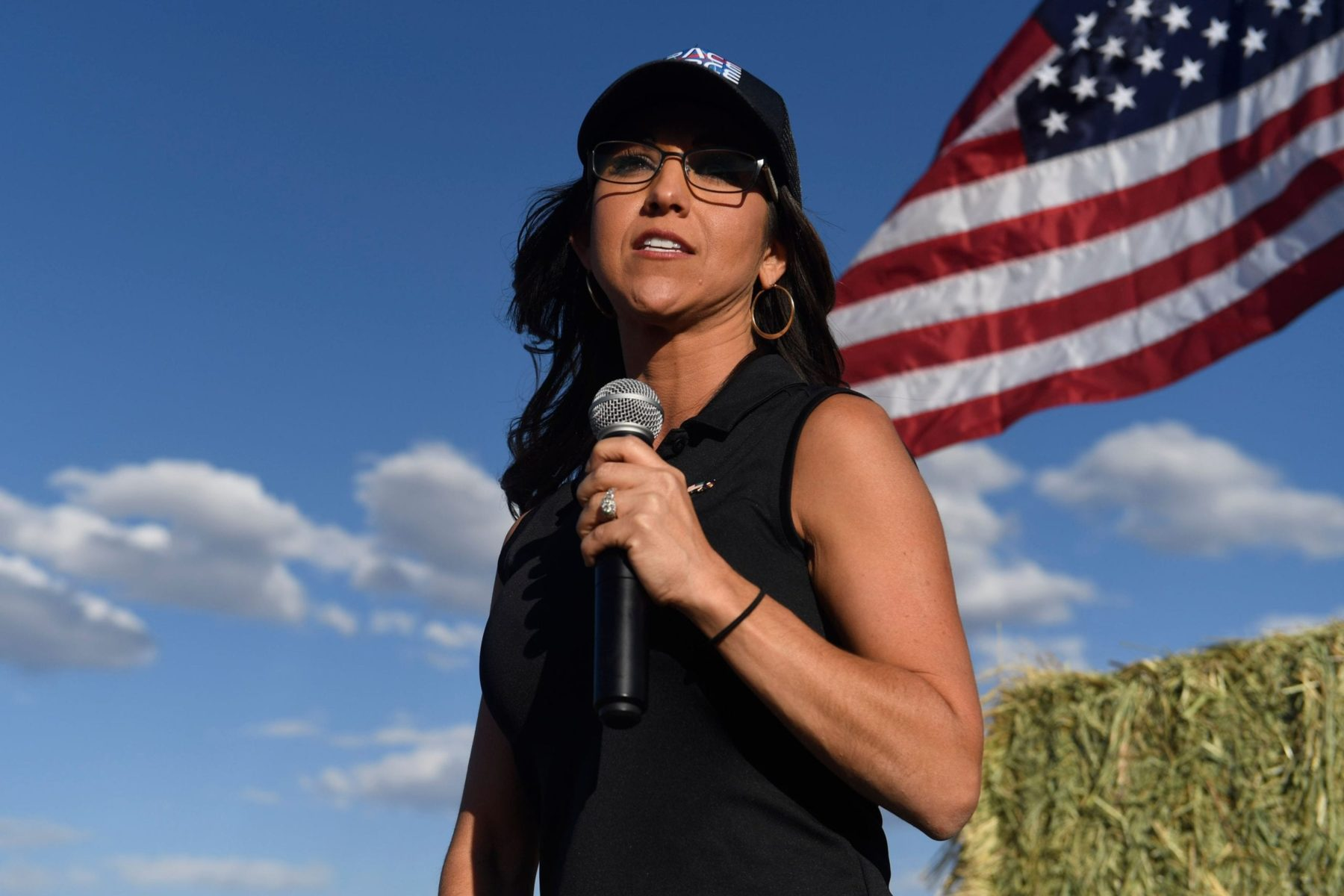Lauren Boebert, the Republican candidate for the US House of Representatives seat in Colorado's 3rd Congressional District, addresses supporters during a campaign rally in Colona, Colorado on October 10, 2020. - Boebert's meteoric rise into politics began in September 2019 when she confronted US Democratic presidential candidate Beto ORourke at a campaign rally and stated