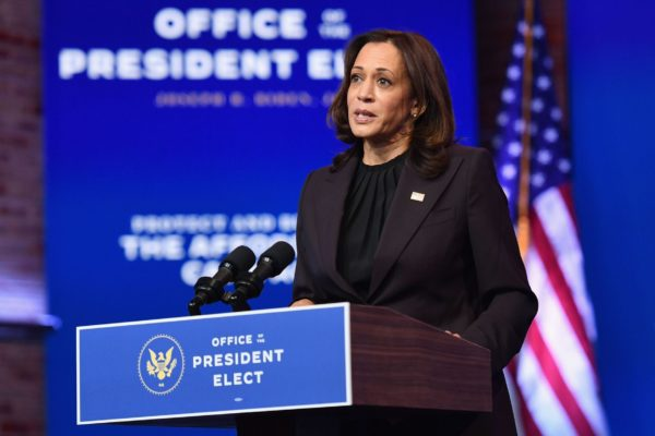 US Vice President-elect Kamala Harris delivers remarks at The Queen in Wilmington, Delaware, on November 10, 2020.