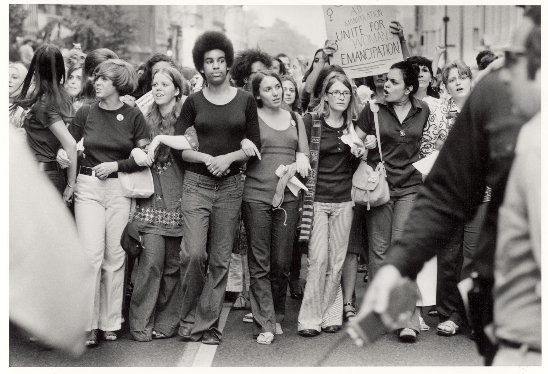 Enthusiastic and resolute women in large parade down Fifth Avenue on the 50th anniversary of the passage of the 19th Ammendment, which granted the women the right to vote, as they march for further women's rights. (Photo by John Olson/The LIFE Picture Collection via Getty Images)