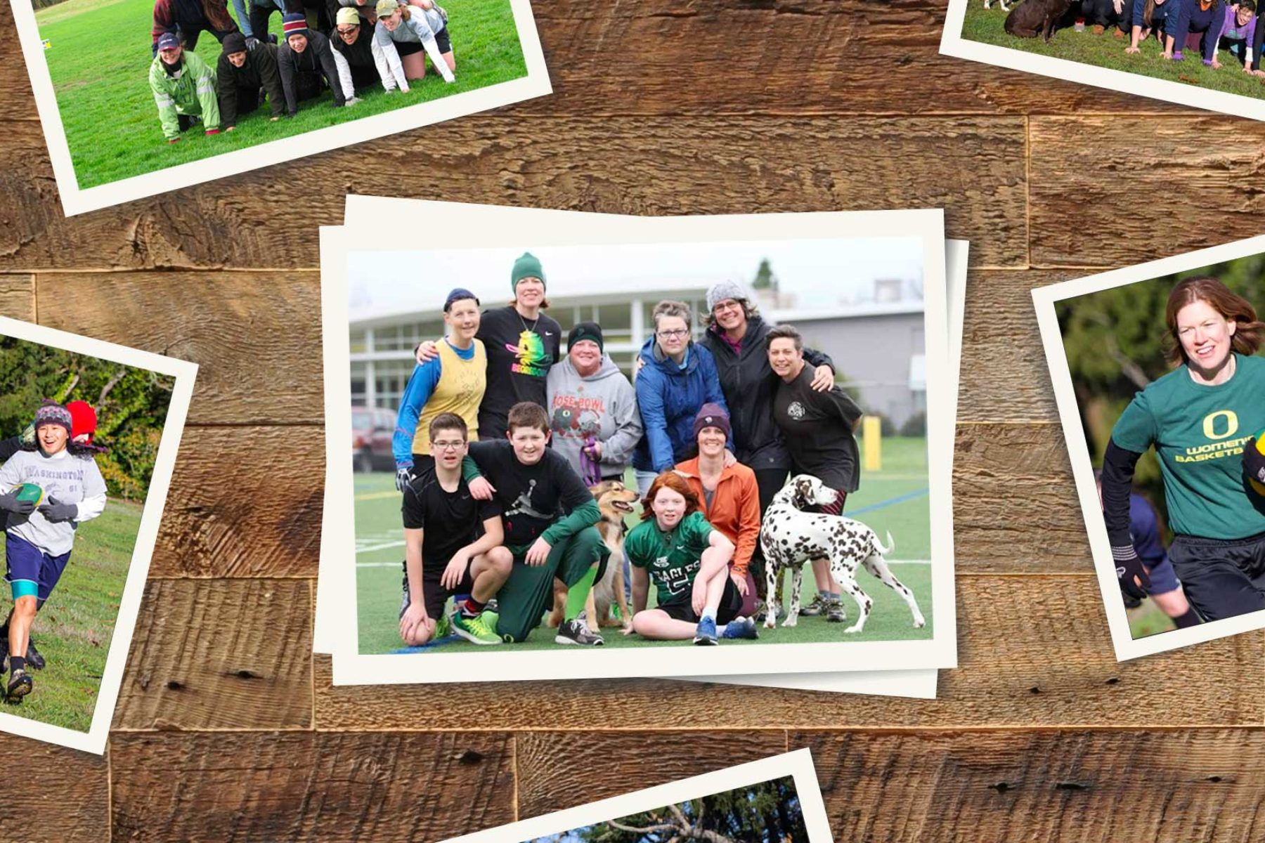 A photo composite of a group playing football.