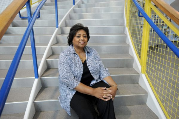 Shirley Sherrod sitting on steps.