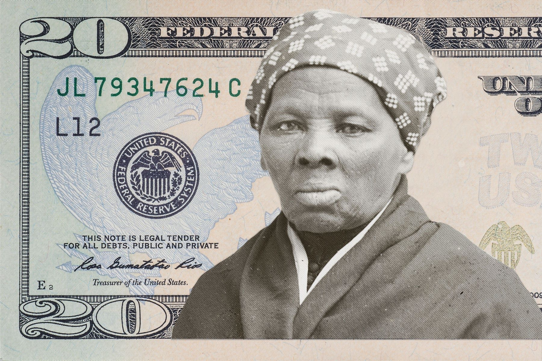 A composite image of Harriet Tubman on a twenty-dollar bill.
