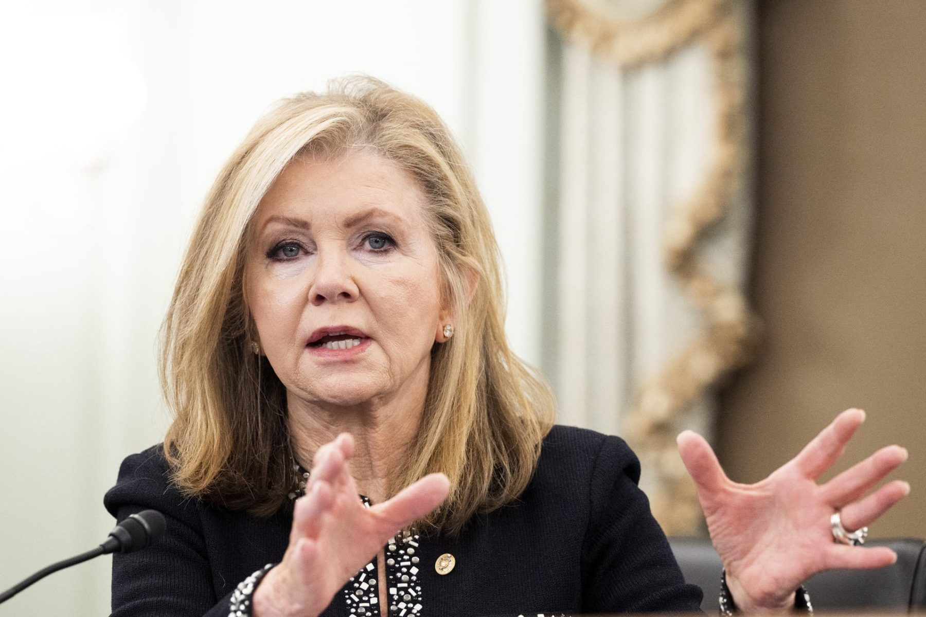 U.S. Senator Marsha Blackburn speaking at a senate hearing.