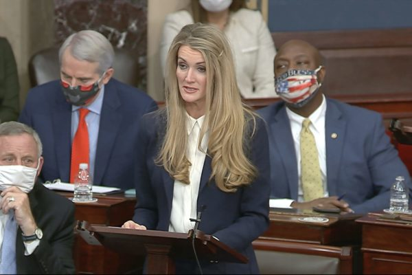 Sen. Kelly Loeffler speaks as the Senate reconvenes after protesters stormed into the U.S. Capitol on January 6, 2021.