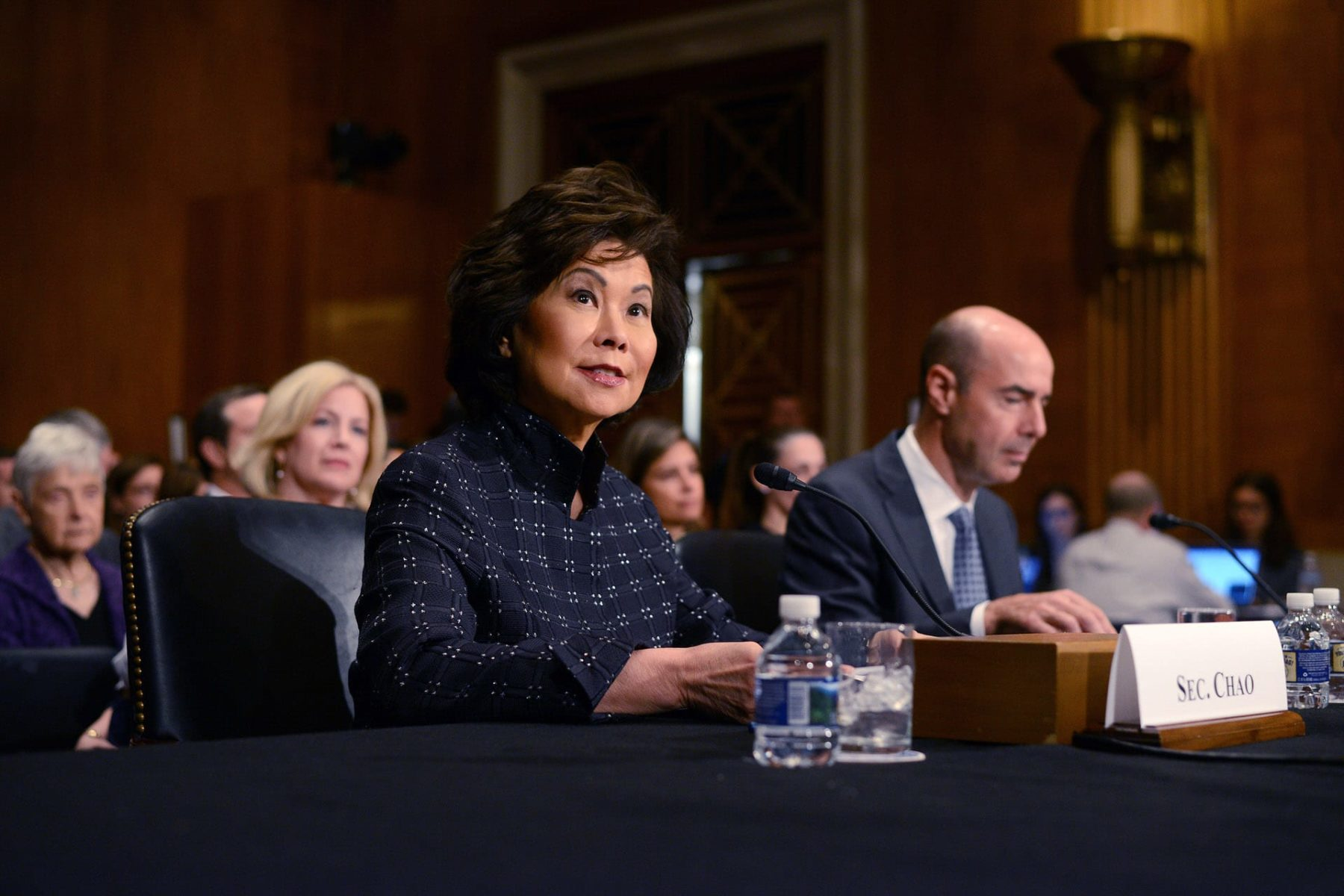 U.S. Secretary of Transportation Elaine Chao sitting at a table for a hearing.