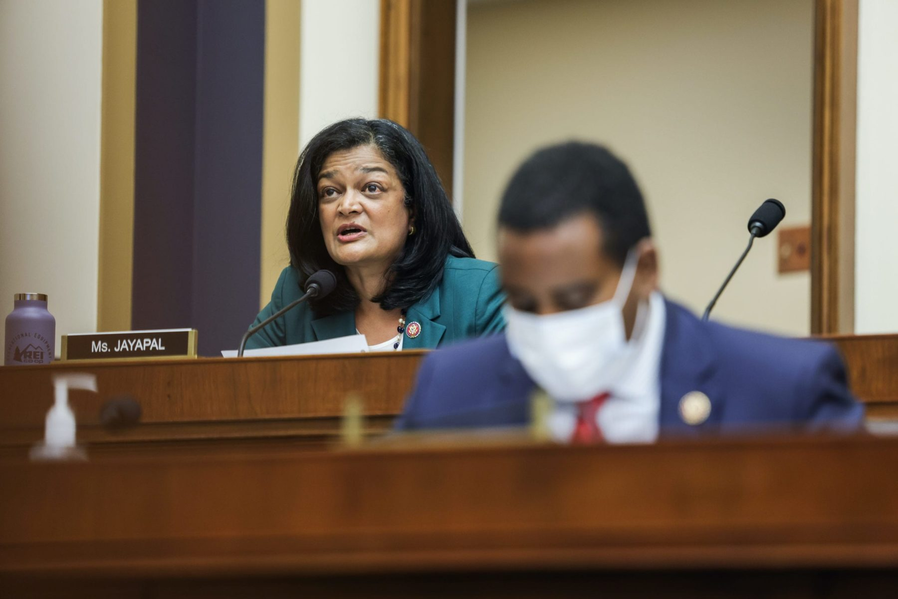 WASHINGTON, DC - JULY 29: Rep. Pramila Jayapal (D-WA) speaks during the House Judiciary Subcommittee on Antitrust, Commercial and Administrative Law hearing on Online Platforms and Market Power in the Rayburn House office Building, July 29, 2020 on Capitol Hill in Washington, DC. The committee was scheduled to hear testimony from the CEOs of Apple, Facebook, Amazon and Google. (Photo by Graeme Jennings-Pool/Getty Images)