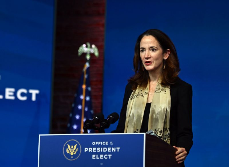 Nominated Director of National Intelligence Avril Haines speaking at a podium.