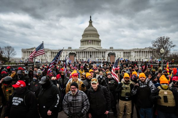 Pro-Trump protesters gather in front of the U.S. Capitol Building.