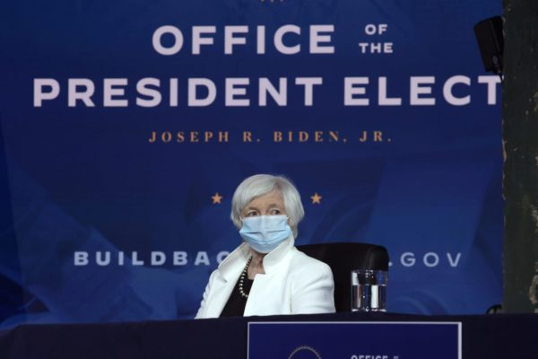 Janet Yellen looks on during an event to name President-elect Joe Biden's economic team.