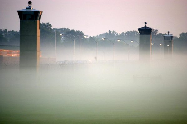 Guard towers surrounding the Federal Prison in Terre Haute, Indiana.