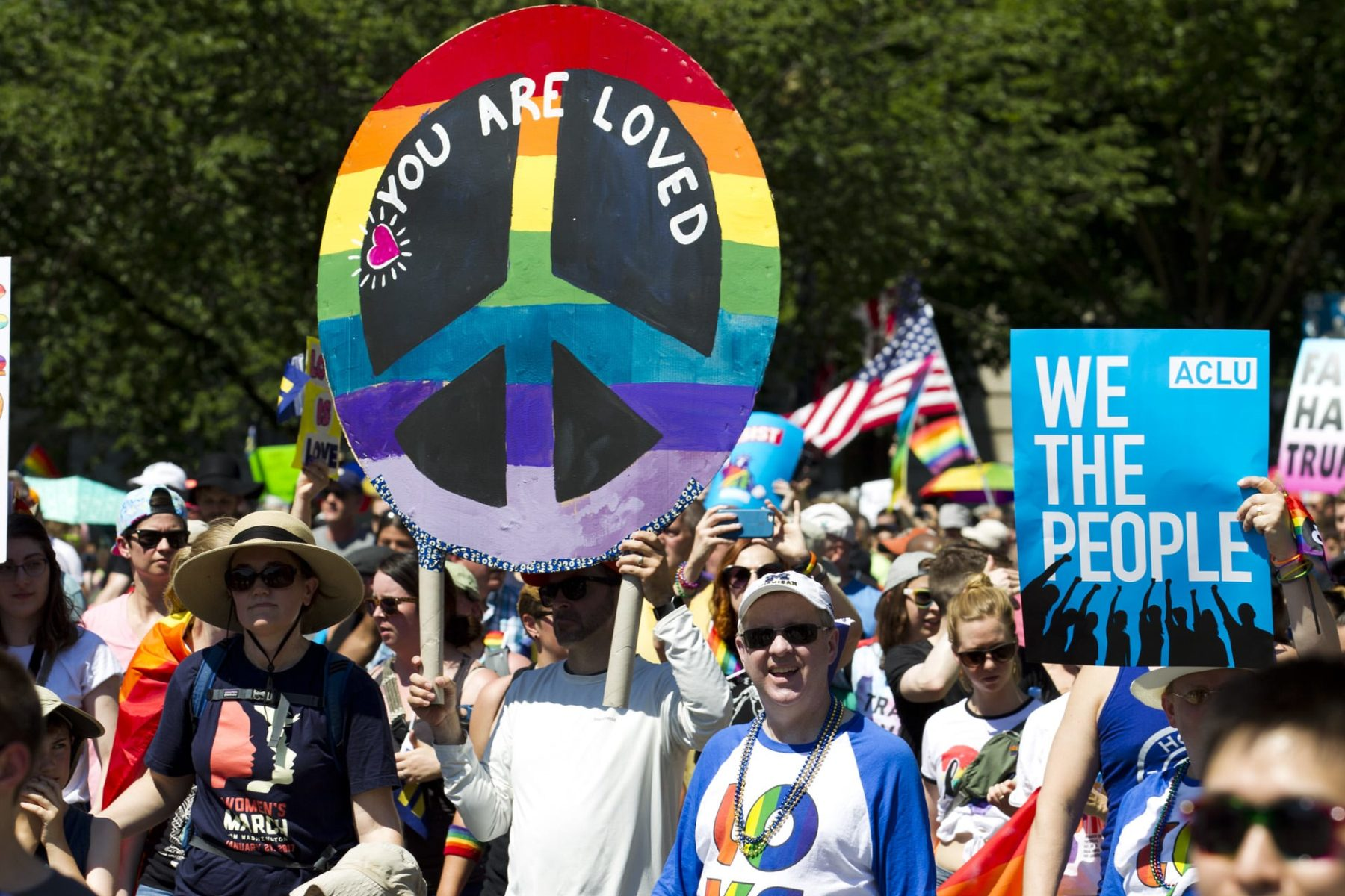 LGBT members and their supporters take part in an Equality March for Unity.