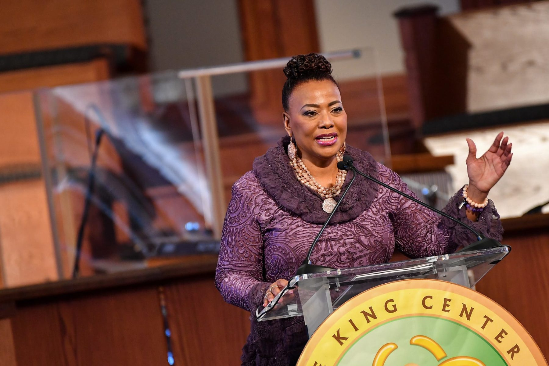 Bernice King speaks in Atlanta at a King holiday observance
