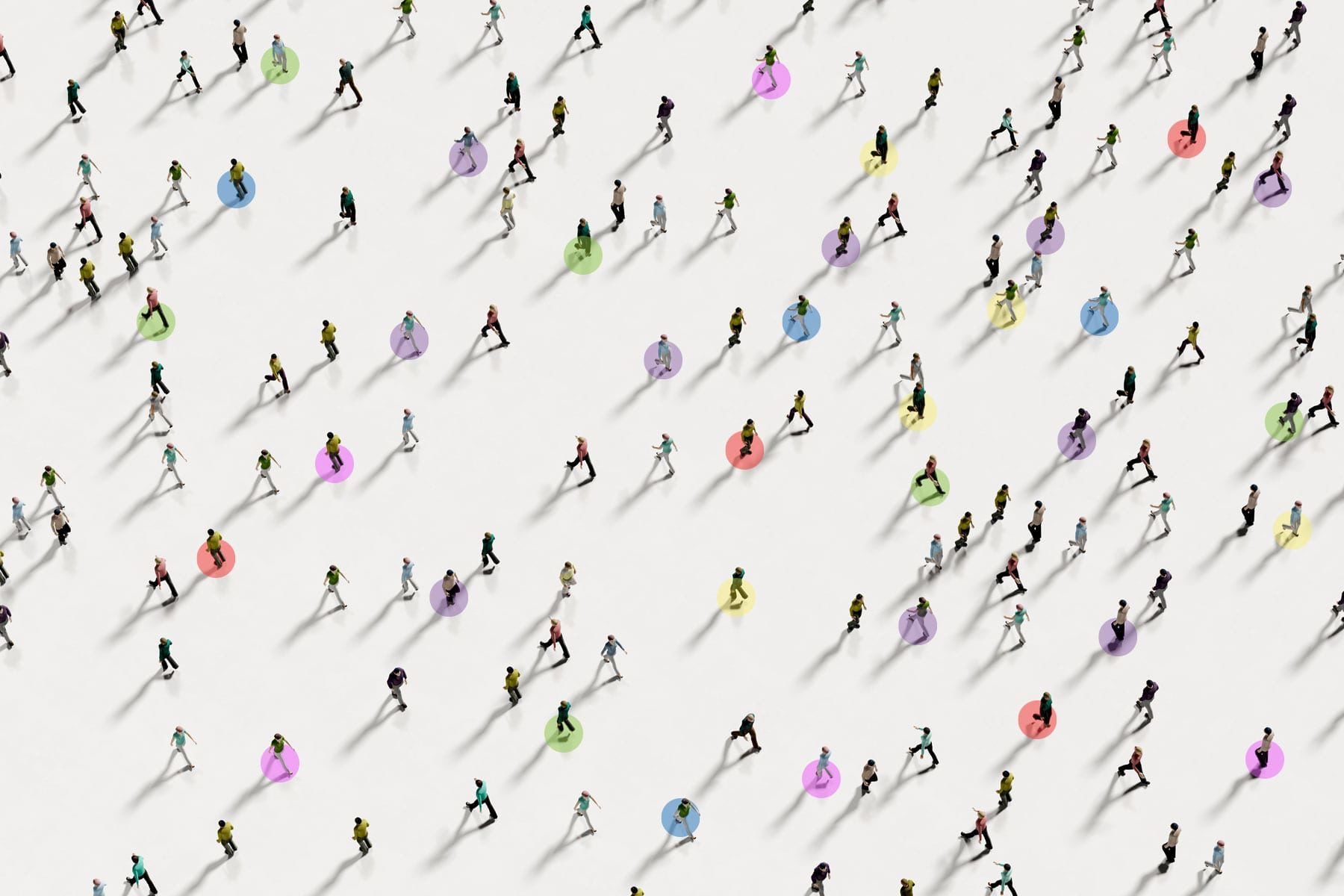 An illustration of people walking with colored dots on them.
