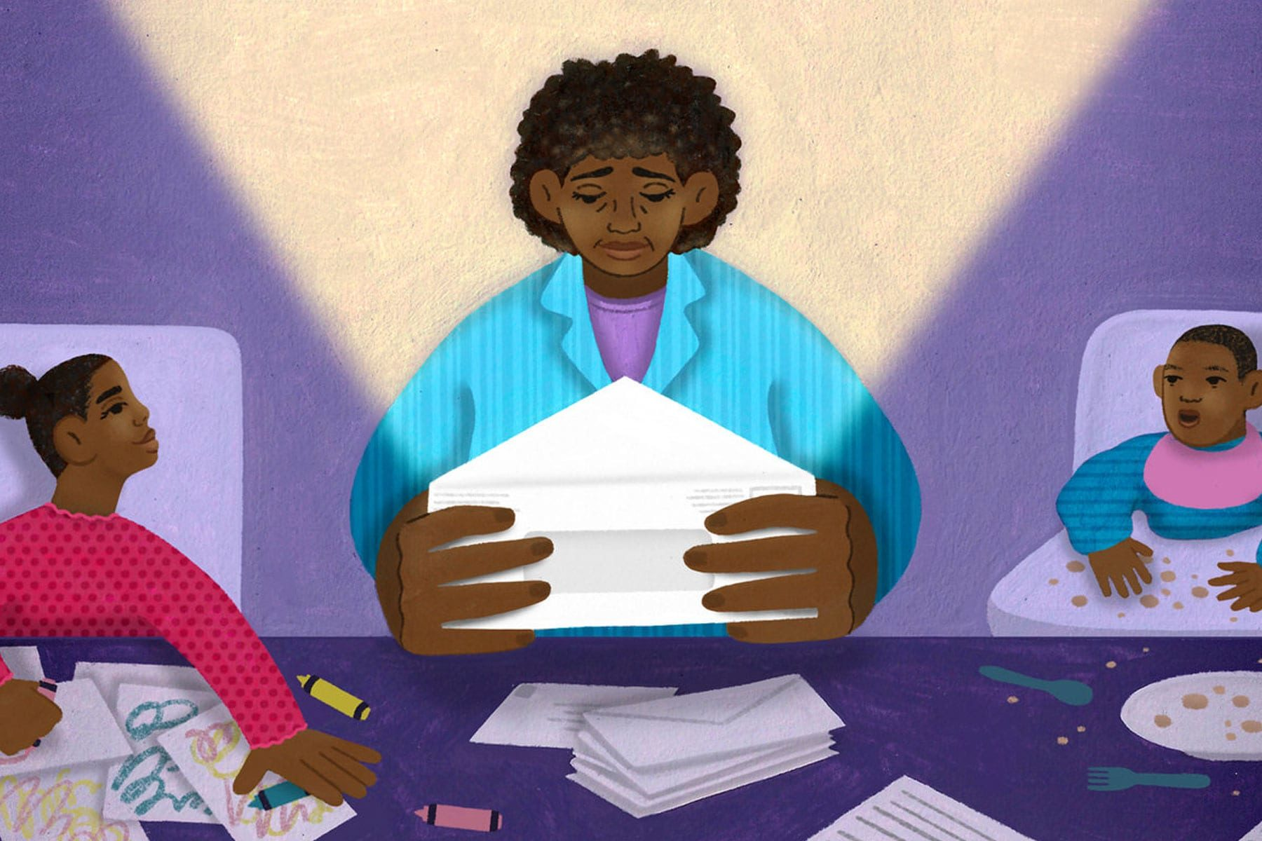 An illustration of a mother opening an envelope with her two kids at a kitchen table.