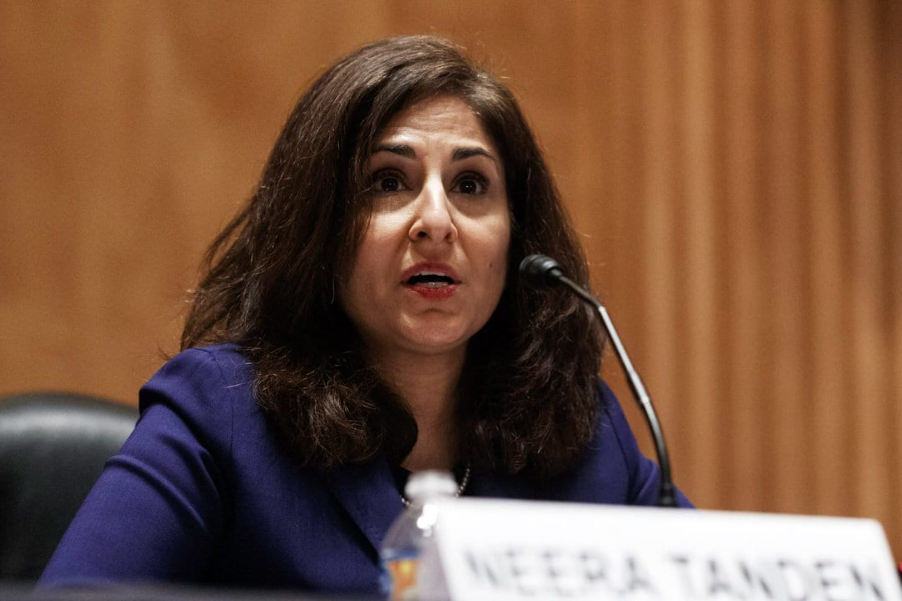 Neera Tanden speaks at Senate hearing.