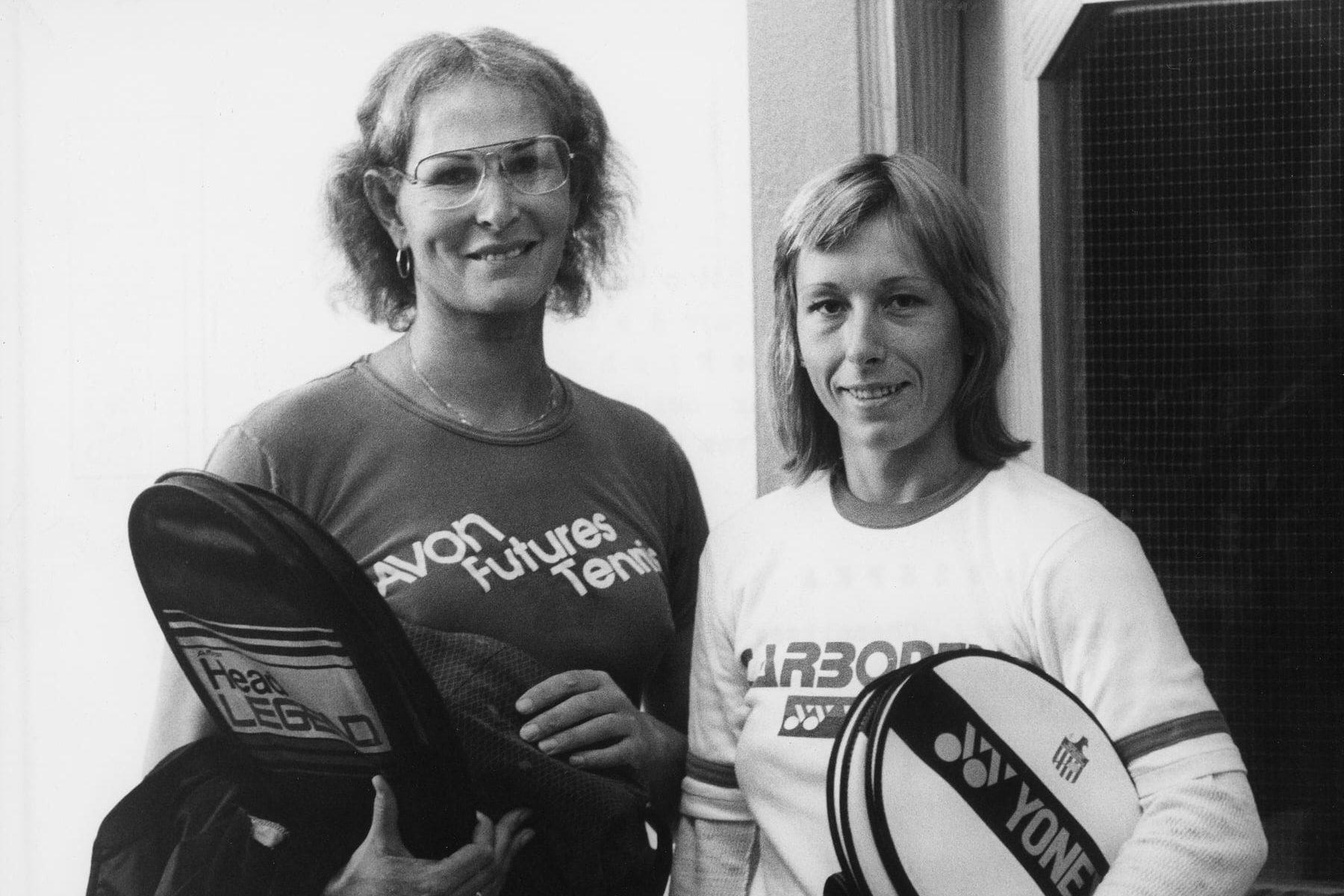 A vintage image of Renee Richards and Martina Navratilova holding tennis rackets.