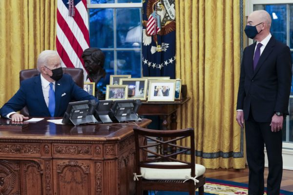 Biden speaks to DHS Secretary Mayorkas in the Oval Office