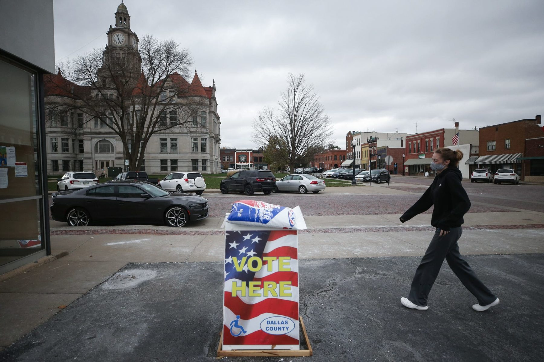 Person heads to vote early in Iowa