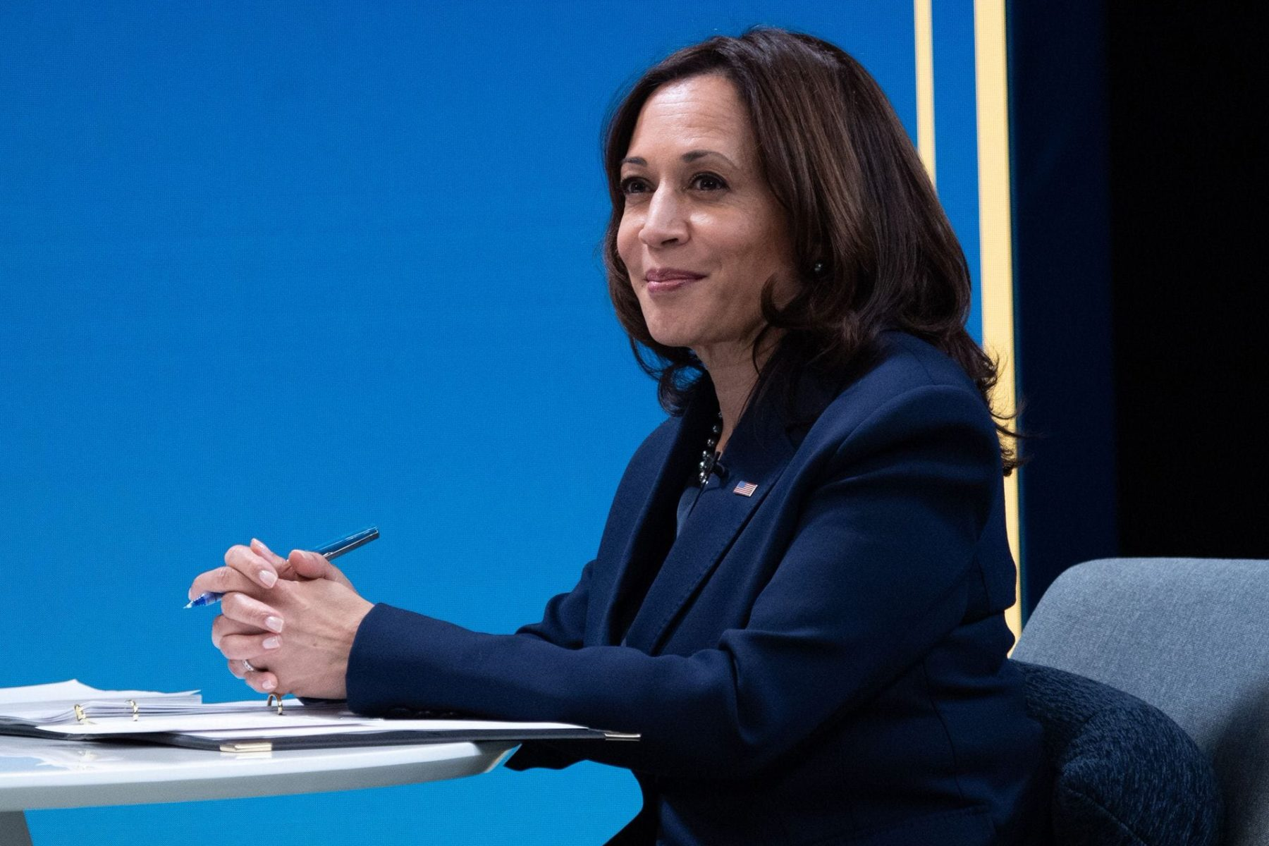 Vice President Kamala Harris hosts a listening session in February 2021.