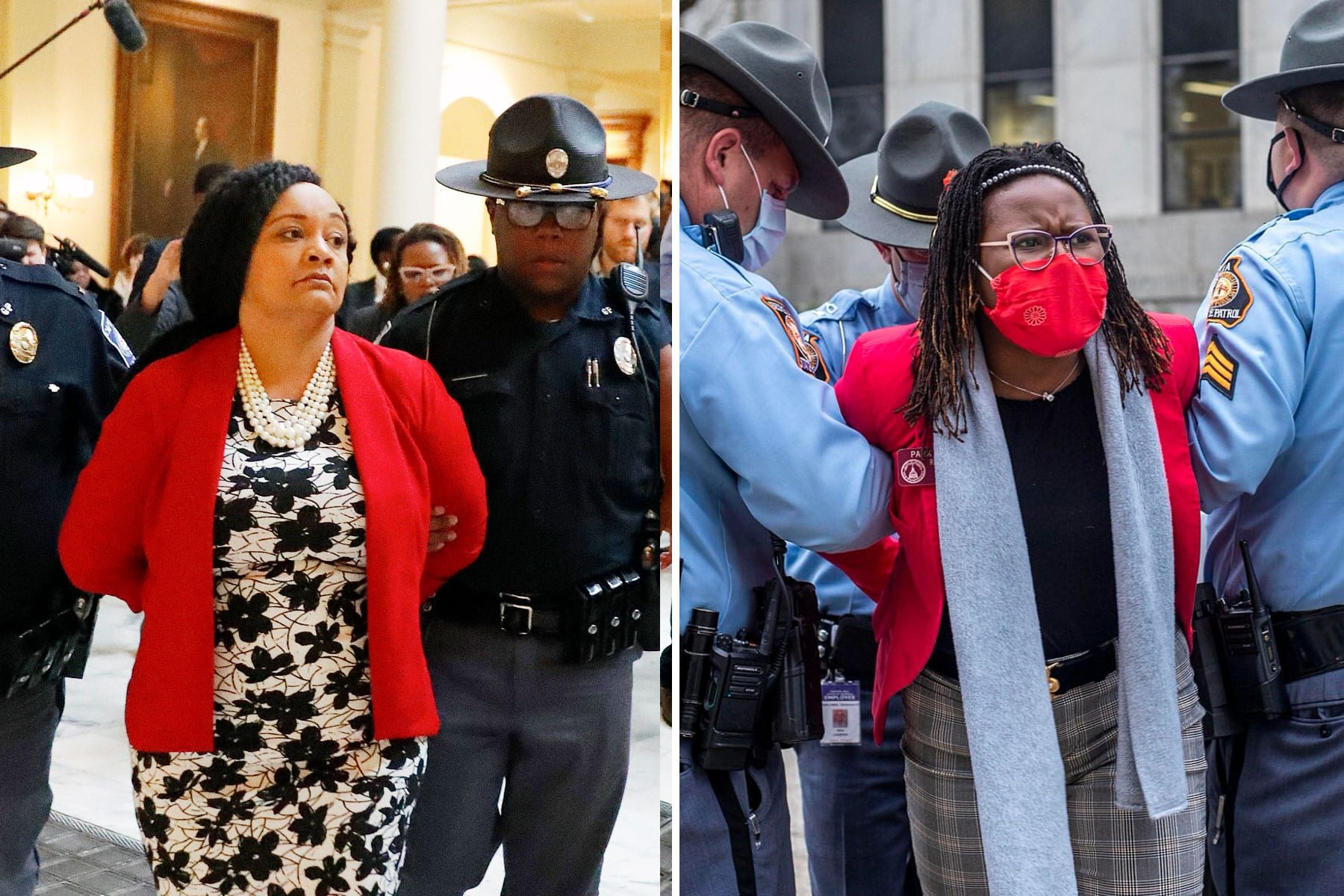 A composite image of Sen. Nikema Williams (D-Atlanta) and Georgia state Rep. Park Cannon being arrested.