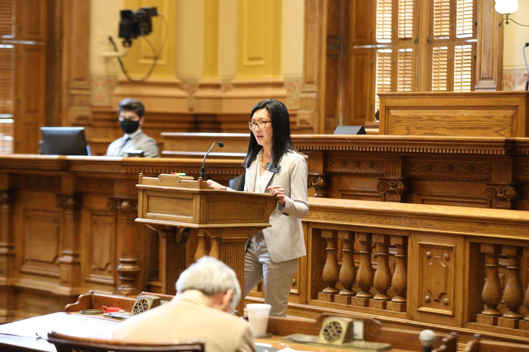 Sen. Michelle Au, D-GA, speaking from the well